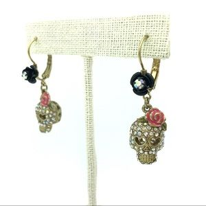 Betsey Johnson Skull Earrings Crystal & Floral